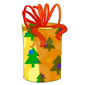 Red and yellow round wrapped cylinder gift box. Holiday present raster illustration. Stock Photo
