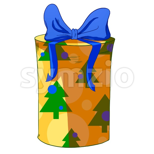 Christmas trees round wrapped cylinder gift box. Holiday present raster illustration. Stock Photo