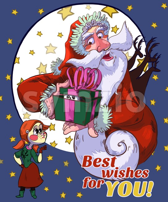 Santa Best Wishes For You Cartoon Illustration. Raster drawn illustration in cartoony style. Merry Christmas & Happy New Year Card. Stock Photo