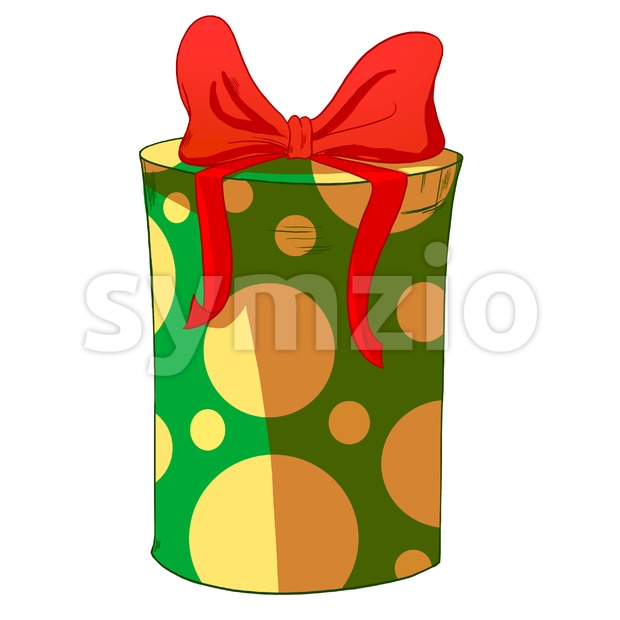 Green round wrapped cylinder gift box with red bow. Holiday present raster illustration. Stock Photo