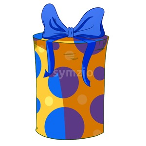 Blue circles round wrapped cylinder gift box. Holiday present raster illustration. Stock Photo