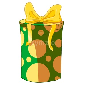 Yellow bow on green round wrapped cylinder gift box. Holiday present raster illustration. Stock Photo