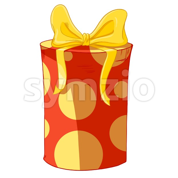 Yellow bow and circles on round wrapped cylinder gift box. Holiday present raster illustration. Stock Photo