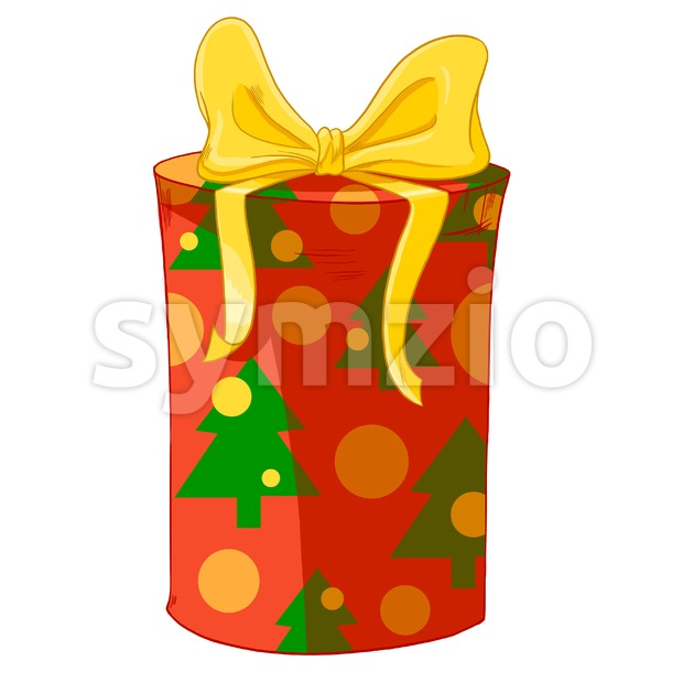 Yellow bow and Christmas trees wrapped cylinder gift box. Holiday present raster illustration. Stock Photo