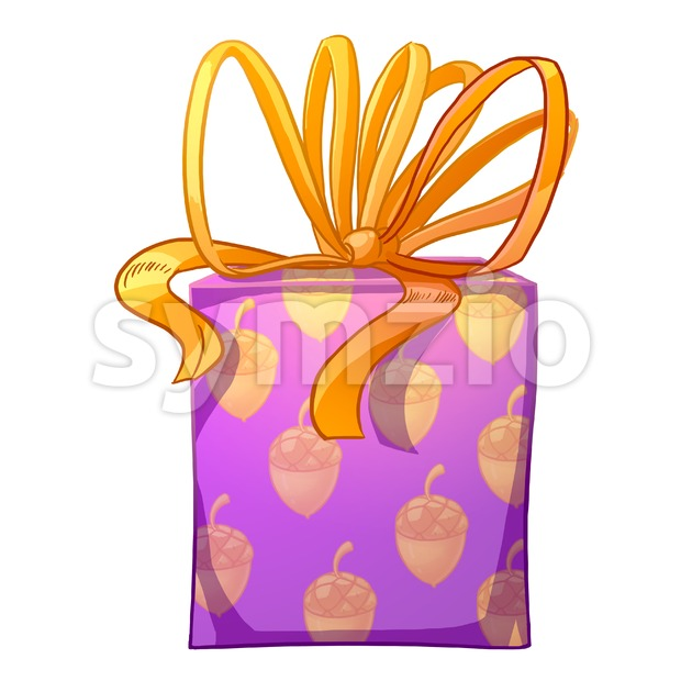 Purple gift box with yellow bow and acorns wrapping paper. Holiday present raster illustration. Stock Photo