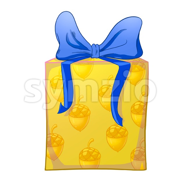 Yellow gift box with blue bow and acorns wrapping paper. Holiday present raster illustration. Stock Photo