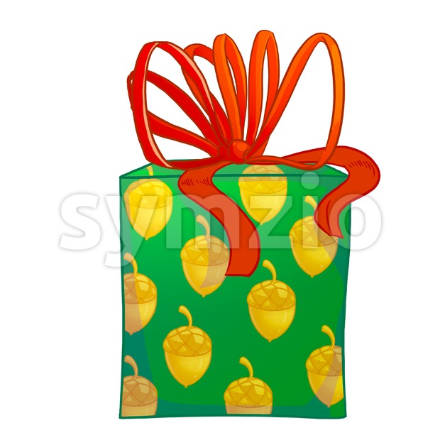 Green gift box with red bow and acorns wrapping paper. Holiday present raster illustration. Stock Photo