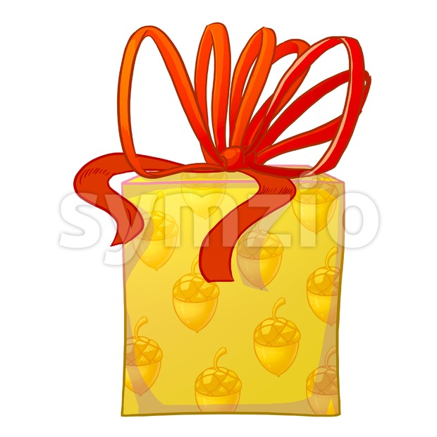 Yellow gift box with red bow and acorns wrapping paper. Holiday present raster illustration. Stock Photo