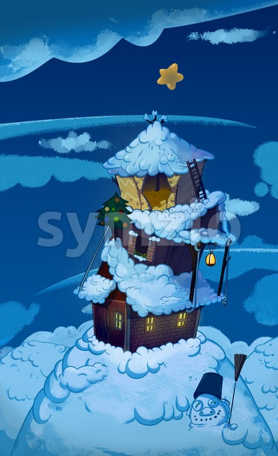 Three Houses one on top of another. Brick house, wooden house and straw house. Winter night fairy tale background image. Cartoon raster illustration. Stock Photo