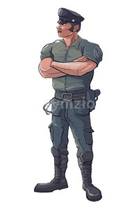 Policeman - Police Officer Stand Guard - Raster Isolated Illustration Stock Photo