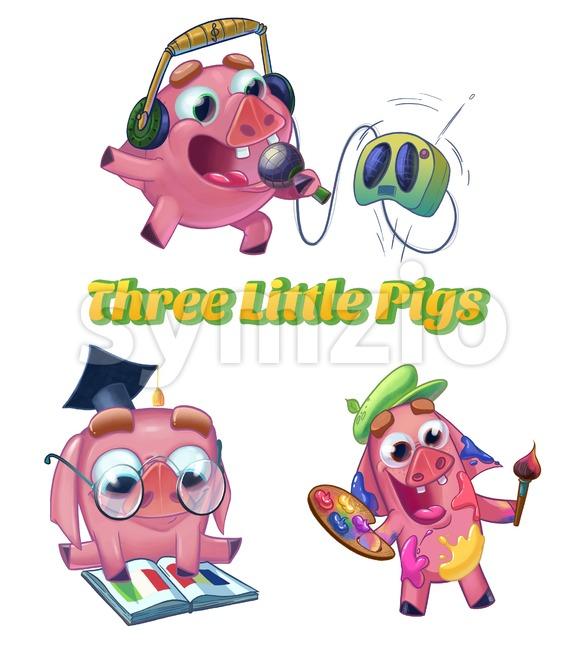 Three Little Pigs from Classic Fairy Tale. Musician, scientist and artist characters. Cartoon raster illustration on white background isolated. Stock Photo