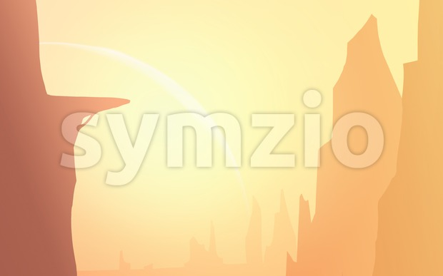 Canyons in the Sunlight. Beautifully lit raster cartoon background illustration. Stock Photo