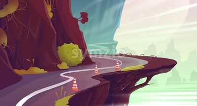 Canyon Road Landscape. Raster Cartoon Background Illustration. Stock Photo