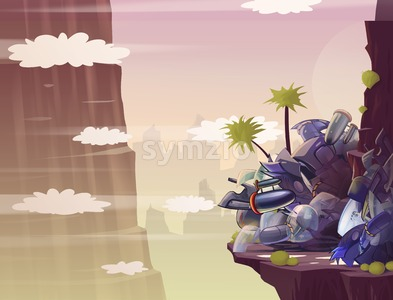 Car Crash in the Canyon. Raster Cartoon Background Illustration. Stock Photo