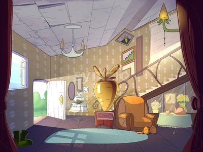 Rabbit house, living room interior. Fairy tale cartoon stylish raster illustration. Stock Photo