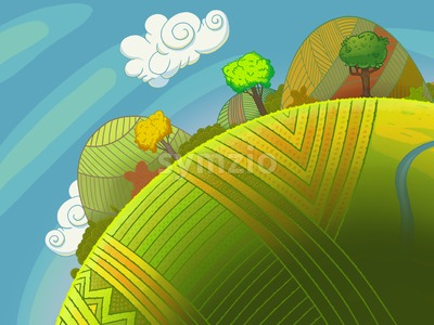 Round green hills with trees and sky with clouds. Cartoon stylish background raster illustration. Stock Photo