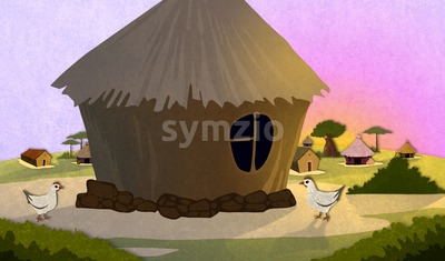 Tribe village houses with chicken in Africa. Cartoon stylish background raster illustration. Stock Photo