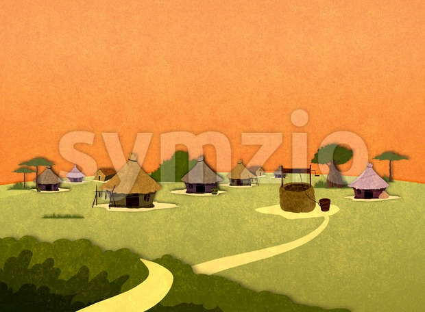 Tribe village houses in Africa in the sunset. Cartoon stylish background raster illustration.