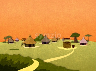 Tribe village houses in Africa in the sunset. Cartoon stylish background raster illustration. Stock Photo