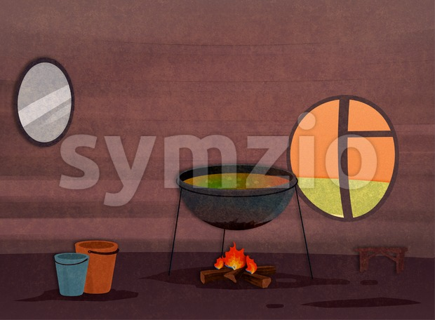 Tribe house kitchen interior. Food preparation process. Cartoon stylish background raster illustration. Stock Photo
