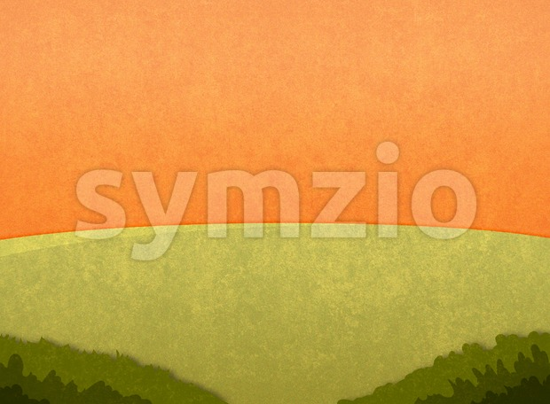 Green meadow in the sunset. Cartoon stylish background raster illustration. Stock Photo