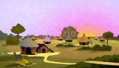 Tribe village houses with farm animals at sunrise in Africa. Cartoon stylish background raster illustration. Stock Photo