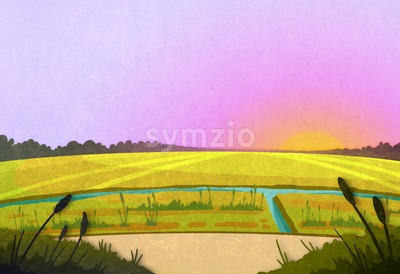 Field crop and a river in the sunrise. Cartoon stylish background raster illustration. Stock Photo
