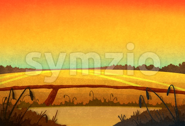 Drought. Field crop in the sunset. Cartoon stylish background raster illustration. Stock Photo