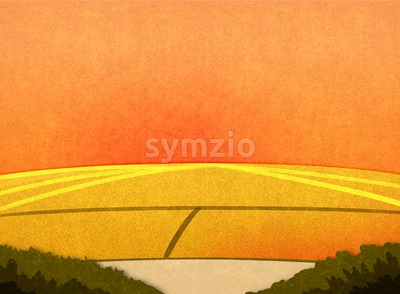 Field crop in the sunset. Cartoon stylish background raster illustration. Stock Photo