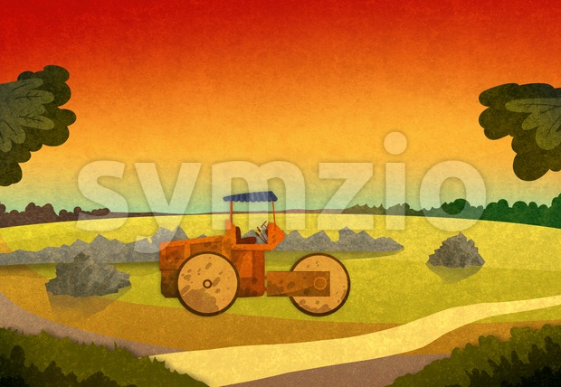 Field crop with farming vehicle in the sunset. Cartoon stylish background raster illustration.