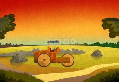 Field crop with farming vehicle in the sunset. Cartoon stylish background raster illustration. Stock Photo