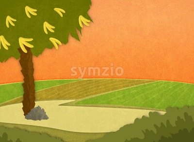 Banana tree with bananas in the meadow at sunset. Cartoon stylish background raster illustration. Stock Photo