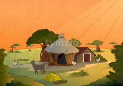 Tribe village houses with farm animals at sunset in Africa. Cartoon stylish background raster illustration. Stock Photo
