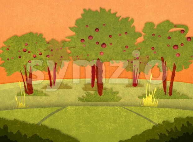 Apple orchard at sunset. Cartoon stylish background raster illustration. Stock Photo