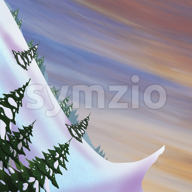 Snow slide with springboard and fir trees. Beautiful landscape. Digital raster illustration. Stock Photo