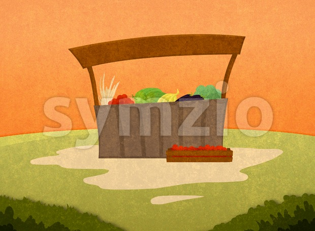 Farm goods market. Selling fruits and vegetables. Cartoon stylish background raster illustration.