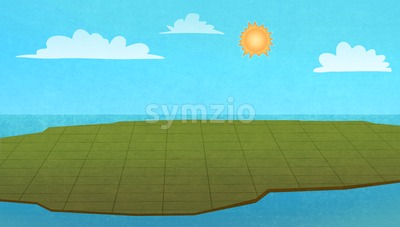 Land territory from above on a sunny day. Digital raster illustration. Stock Photo
