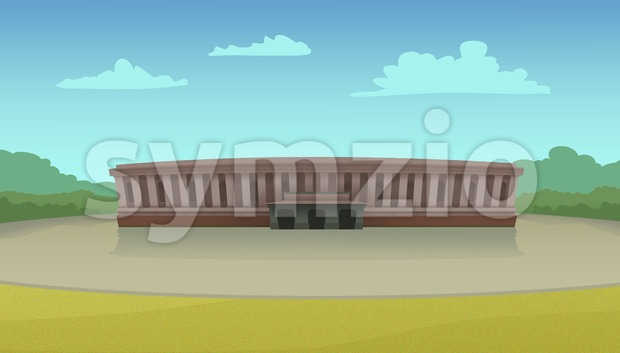 Parliament building illustration on a sunny day. Digital raster illustration. Stock Photo