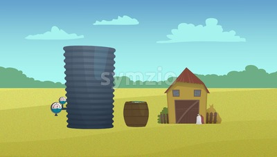 Country barn and water reservoir. Digital raster illustration. Stock Photo