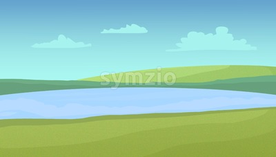 Meadows and lake on a sunny day with clouds. Digital raster illustration. Stock Photo