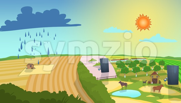 Weather forecast illustration. Rainy and sunny day. Beautiful landscape. Digital raster illustration. Stock Photo