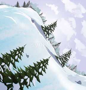 Snow slide with fir trees. Beautiful landscape. Digital raster illustration. Stock Photo