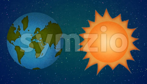 Astronomy. Earth and Sun in Space. Digital raster illustration. Stock Photo