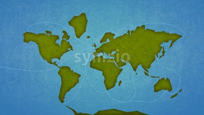 Map of the Earth Continents and oceans. Digital raster illustration. Stock Photo
