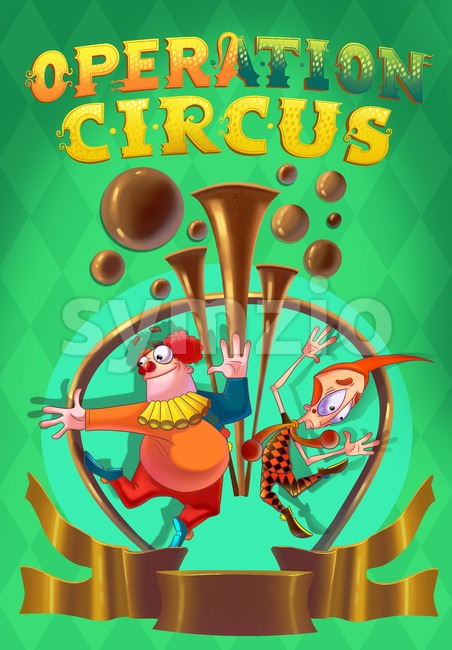 Circus poster clip-art. Kids show. Digital background raster illustration.