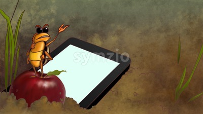 Touchpad dropped in the dirt. Smartphone lays on the ground next to the ant standing on the red apple. Blank screen of tablet computer. Digital tablet Stock Photo