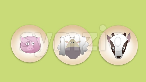 Pig, sheep and goat flat icon set on light green backdrop. Digital background raster illustration Stock Photo