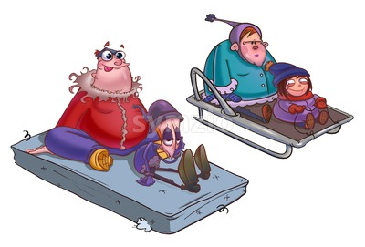 Riding on a sledge, two couples of boys and girls. Winter festivity illustration. Digital background raster image. Stock Photo
