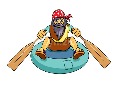 Man with beard escaping on a rubber boat. Digital background raster illustration. Stock Photo