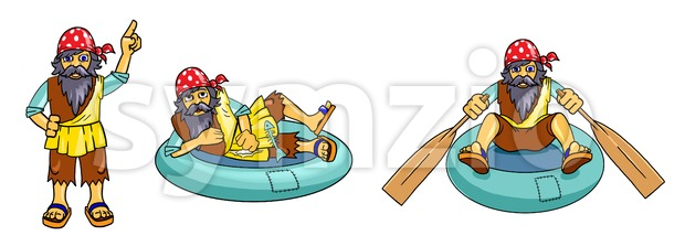 Funny guy with beard and bandana on a rubber boat. Digital background raster illustration. Stock Photo